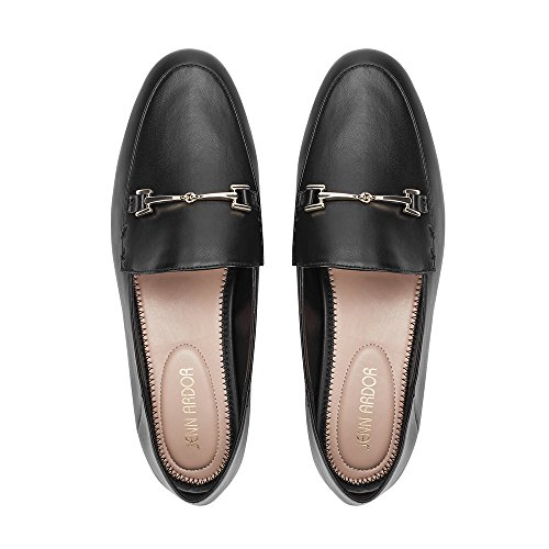 JENN ARDOR Women's Penny Loafers Slip On Flats Comfort Driving Office Loafer Shoes Black ()