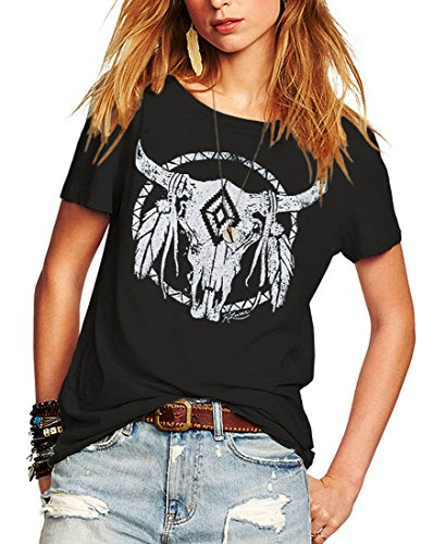(Romastory Womens Street Pattern T-Shirt Short Sleeve Loose Summer Top Tee (S, Black))