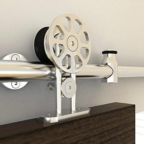 8FT Top Mount Spoke Wheel Barn Door Track Sliding Barn Door Hardware,Stainless Steel,Brushed (8FT Single Door Kit) by SunGive