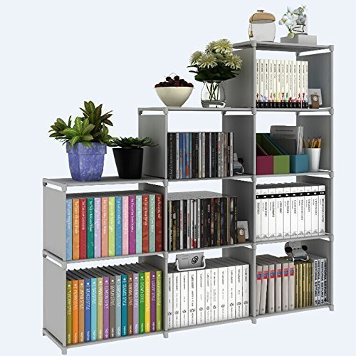 Meflying 4 Tier Bookcase Adjustable Bookshelf with 9-Cube Bookcase Storage DIY Cabinet Waterproof Non-Woven For Home Furniture Kids Study(US STOCK) (Gray) by Meflying