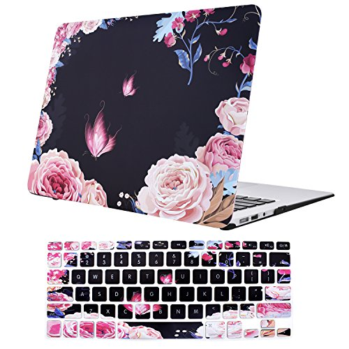 MacBook Air 13 Inch Case, TeenGrow Plastic Hard Protective Smooth MacBook Shell Case with Keyboard Cover for MacBook Air 13 (Model:A1369/A1466), Peony