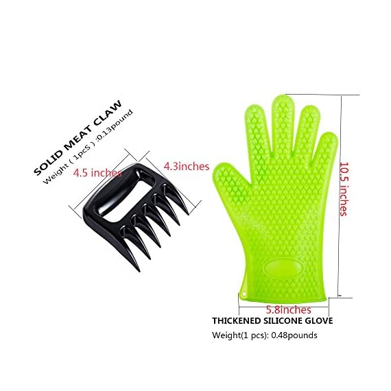 BBQ Grill Oven/Cooking Gloves-Meat Claws Set - Targher 5 in 1 BBQ Set with Silicone BBQ Gloves , Bear Claws, Digital Cooking Thermometer, Silicone Basting Brush and Non-stick BBQ Baking Mat - For Indoor & Outdoor Cooking 8 ► EXTREME HEAT RESISTANT WITH PREMIUM QUALITY- Each mitt of Targher BBQ gloves is crafted with aramid fabric, a type of high performance, and heavy duty synthetic known for its ability to withstand high heat and repeated use. Each Inner liner is crafted with heat resistant polyester cotton, 2 - Level system protect your hands! The highest heat resistant is available up to 932°F/500°C. Your safety protection is first and essential. ► MULTI-FUNTION AND VERSATILE- This BBQ Cooking gloves are not just perfect ACCESSORIES for Grill but also a good helper for kitchenware. GREAT for opening a jar, taking out your hot bread from oven, fireplace logs, car repair, welding, light-bulb changes and more! Perfect to protect your hands for grilling, cooking, baking, or handling super-hot items in the kitchen and outdoors.. ► NO-SLIP SILICONE AND FOREARM PROTECTION- Silicone super-grip surface to prevent anything slipping from your grasp and 5 inches cuff keeps your wrists and lower forearms protected from high temperatures. It allows your hands & fingers move freely, minimize fatigue Silicone strips on palm & back of hand, anti-skid, good for holding large bowl with soup by flexible right handed & left handed! You will cook longer, stronger!