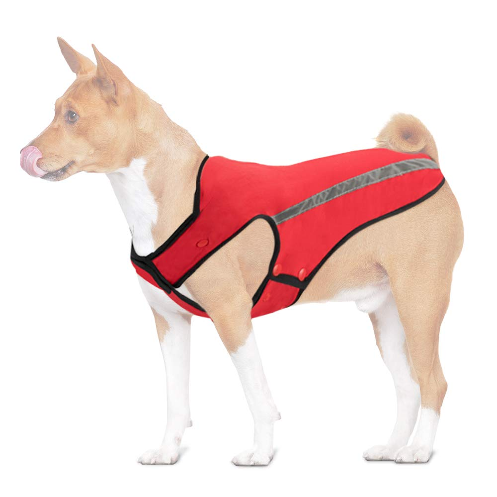 Red M(Chest 20-24.8\ Red M(Chest 20-24.8\ SlowTon Dog Winter Jacket, Detachable Flannel Lining Dog Coat Adjustable Neck and Chest Pet Vest with Reflective Stripe Waterproof Windproof Snowsuit Keep Warm for Small Medium Large