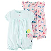 Carter's Baby Girls' 2-Pack Romper, Bird/Butterfly, 12 Months