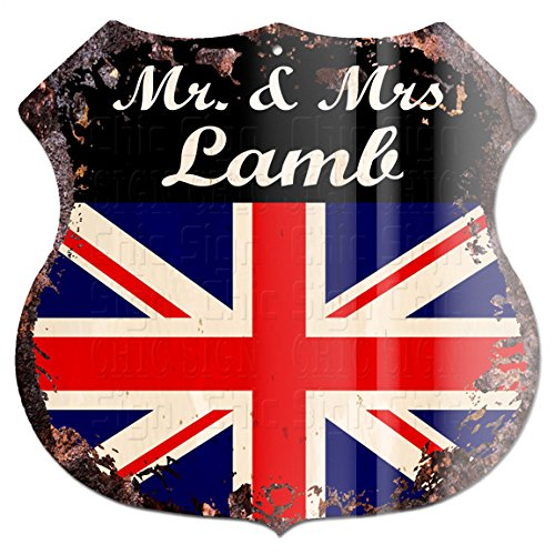 "Mr & Mrs Lamb United Kindom Flag Custom Personalized Chic Tin Sign Vintage Retro 11.5""x 11.5"" Shield Metal Plate Store Home Man cave Decor Funny Gift ()"