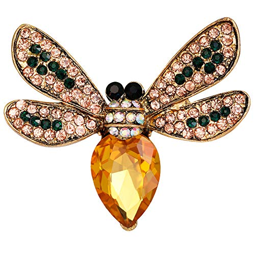- Stylebar Bee Brooch Pins Retro Bumble Honeybee Brooches Insect Pin Yellow Broaches for Women Girls Summer Orange Crystal Vintage Gold Tone