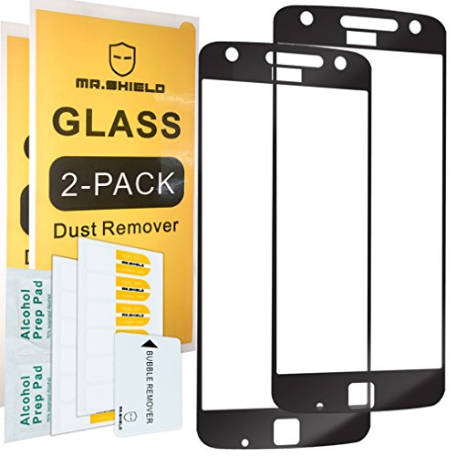 [2-PACK]-Mr Shield For Motorola Moto Z Play [Tempered Glass] [Full Cover] [Black] Screen Protector with Lifetime Replacement Warranty