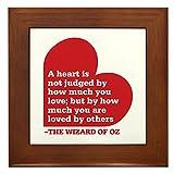 CafePress - Wizard Of Oz - Heart Judged - Framed Tile, Decorative Tile Wall Hanging