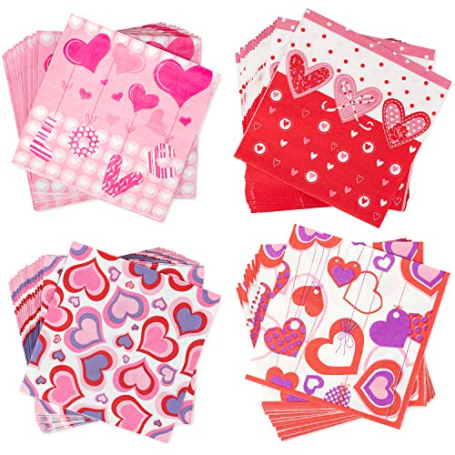 Whaline Valentine's Day Napkins Beverage Luncheon Napkins 2 Ply for Anniversary, Wedding, Luncheons, Dinners and Celebrations, 80 Pack ()