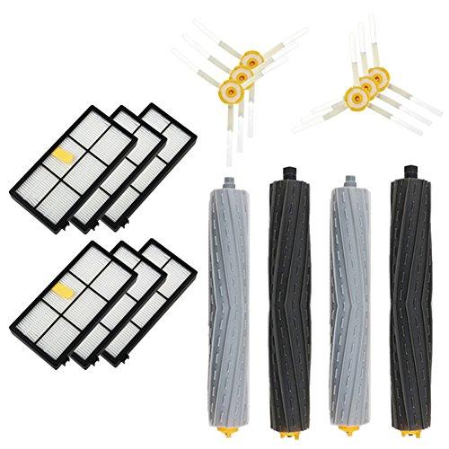 Accessoires de remplacement de vide iRobot Roomba 800 900, Kit de rechange - 6 Filtres, 6 brosse latérale, 2 ensembles d'extraction de débris sans anneaux