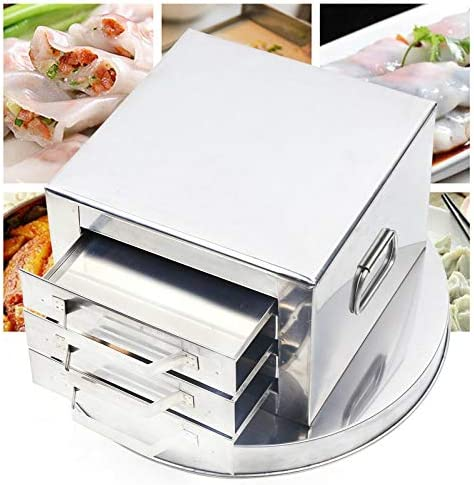 514b5MR4PpL. AC Stainless Steel Kitchen Steamer 3-Layer Multi-function Rice Noodle Rolls Machine Steamed Vermicelli Roll Steamer Cantonese Cuisine Household Cookware Kitchen Food Steamer with Drawer & Scrape    This steamed rice roll steamer machinecan not only be used on electric stoves, but also on induction cookers and gas-oven.【High Quality Food Grade Materials】The food steamer is made of high-quality stainless steel. Food-grade materials are safer, healthier, thicker and more durable. The flat surface of the steamer is easier to remove stains. After use, wipe the water with a cloth and place the rice noodle roller in a dry and ventilated place to avoid rust.【 Fancy Cooking】In addition to steamed noodles, other ingredients can also be steamed, such as dumplings, noodles, steamed bread, taro, pumpkin and so on. The vermicelli steamer has good sealing effect, and the flat plate can be heated evenly.【Compact Design】The rice noodle rolling steamer is made of wood handle, which is labor-saving and heat-resistant, convenient and practical. The lid of the food steamer is removable for easy cleaning and watering. Double layer design, can cook different ingredients at the same time, improve cooking efficiency.【Flexible Use】Steam cooker can be used in electric stove, gas stove, induction cooker, steam cooker is suitable for all kinds of heat sources, is a convenient household cooker. The steamer is provided with a taller tray, a brush and a spatula.【Operation Method】 Brush a little oil on the tray, put proper amount of rice milk, cover the bottom of the tray, and put it into the steamer to heat at high temperature. After steaming for a few minutes, you can drizzle with the sauce to your liking.
