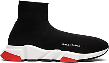 Balenciaga Mens & Womens Speed Trainer Mid Black Red Unisex Fashion Sneakers (36