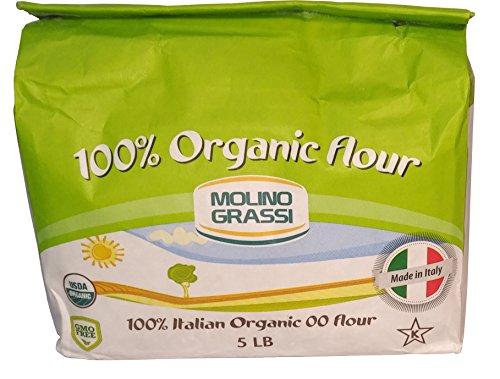Molino Grassi 100% Italian Organic 00 Flour 5 Lb (Pack of 2)