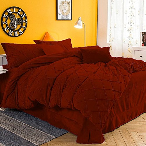 (AA Textiles King Bronze 800TC Classic Collection Winter Special Pintuck Style Velvet 4PC15 D.Pkt Sheet Set + Quilt(1 Duvet Cover+2 Pillow Cover + 1 Fitted Sheet))