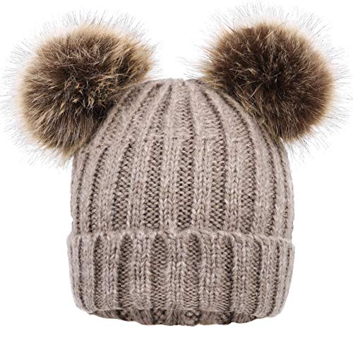EPGU Men & Womens Cable Knit Beanie with Faux Fur Pompom Ears