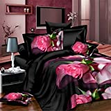 wiwanshop Four-piece Suit Polyester Fiber 3D Rose Floral Print Reactive Dyeing Bedding Set