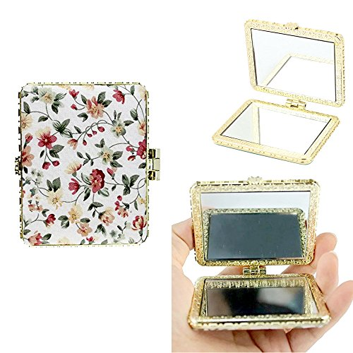 (eyxformula 2 Pack Purse Makeup Mirror, Flower Compact Vanity Handheld Mirror, Soft Cloth Double-sided Cosmetic Hand)