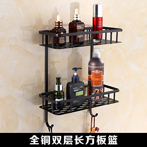 All copper double layer rectangular plate Mangeoo All copper black bathroom European style antique black bronze bathroom pendant set,All copper soap net