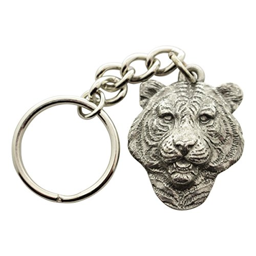 Sarah's Treats & Treasures Tiger Head Keychain ~ Antiqued Pewter ~ Keychain