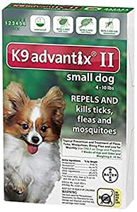 Bayer K9 Advantix II, Flea And Tick Control Treatment for Dogs, 4 to 10 lbs, 6-Month Supply