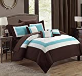 Chic Home Duke 10 Piece Comforter Set Complete Bed in a Bag Pieced Color Block Patterned Bedding with Sheet Set And Decorative Pillows Shams Included, Queen Brown
