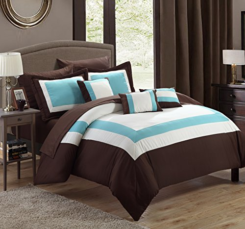 Chic Home Duke 10 Piece Comforter Set Complete Bed in a Bag Pieced Color Block Patterned Bedding with Sheet Set And Decorative Pillows Shams Included, Queen Brown (Ideas Breakfast Room)