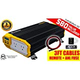 KRIËGER® 1500 Watt 12V Power Inverter KR1500 - Dual 110V AC outlets, Installation kit included, Automotive back up power supply for refrigerators, microwaves, Blenders, vacuums, power tools and more .. MET approved according to UL and CSA standards.