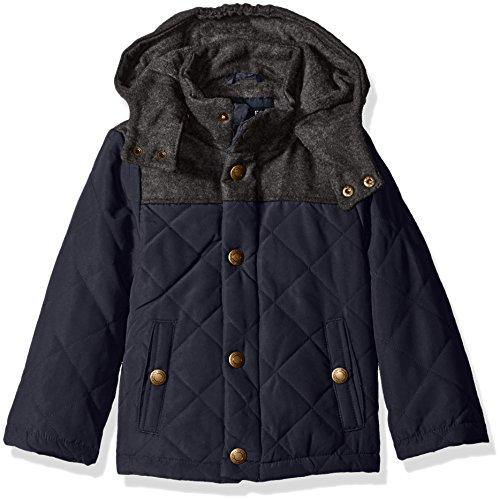 London Fog Little Boys Barn Jacket With Faux Wool Hood And Yolk, Navy, 5/6