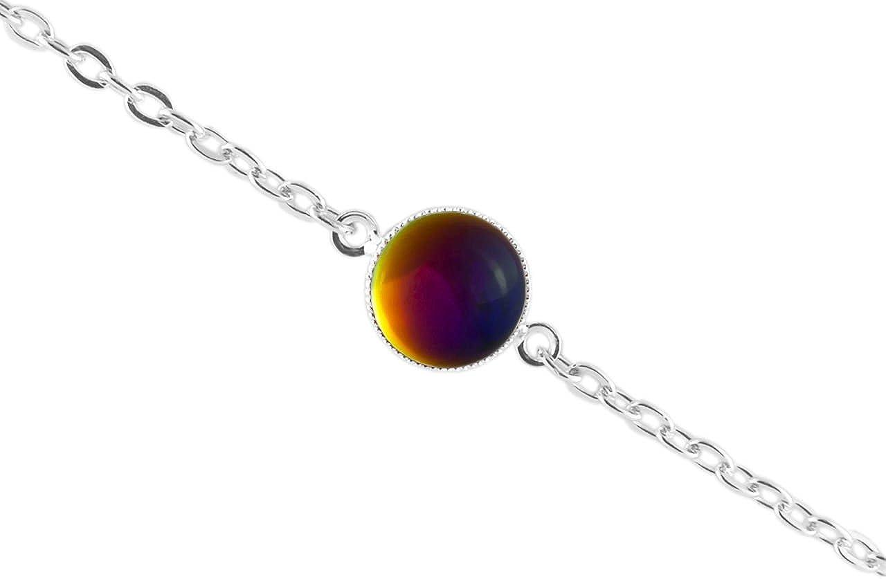La Plata 925 Plateó la Pulsera de Cadena de 14cm Ronda Minimalista 10mm Cristal Vitrail arco iris Volcán Azul Rosa Amarillo de Cristal checo de Piedra hechos a Mano Bohe