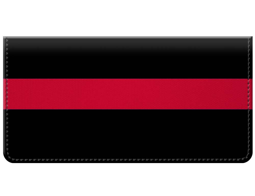 Thin Red Line of Courage in Support of Firefighters Manufactured in USA Checkbook Cover