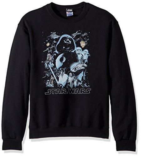 Star Wars Unisex-Adults Men's Galaxy Of Graphic T-Shirt, Black//Crew Fleece, Medium