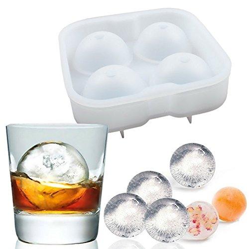 Newlemo Eisformen Ice Ball Maker Eiskugel Schimmel Eiskugel Maker Formen Puck Produzieren Ice Balls Form Silikon Food Grade-Eis-Form Whiskey-Eiscreme-Form Kugel (Weiß)