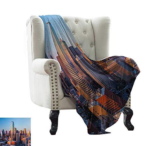 (Reversible Blanket Dallas Texas City with Blue Sky at Sunset Metropolitan Finance Urban Center All Season Light Weight Living Room 60