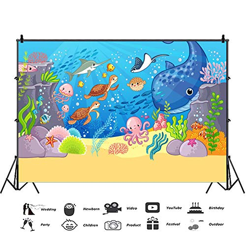 Baocicco 5x3ft Underwater Backdrop Summer Party Backdrop Cartoon Whale Octopus Ray Coral Reef Bubbles Seaweed Photography Background Baby Shower Birthday Party Boys Girls Portrait Studio Video