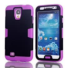 Galaxy S4 Case, LUOLNH 3-piece 3 in 1 Combo Hybrid Defender High Impact Body Armor Hard PC & silicone Case Protective Cover for Samsung Galaxy S4(Black/Purple)