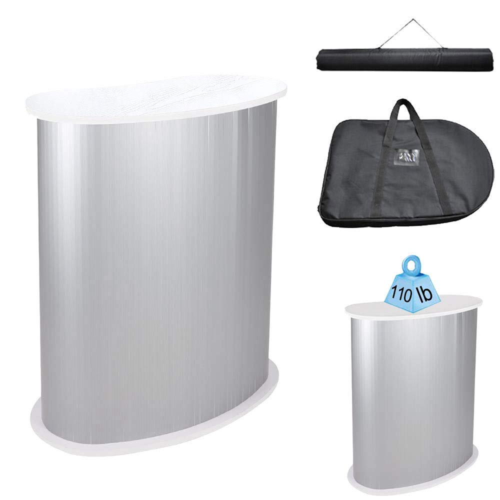 LeeMas Inc co 36-5/8'' Trade Show Counter Display Podium Table Portable Stand White for Offering Free Samples Promotional Literature Interactive Workstation Travel Businesspersons