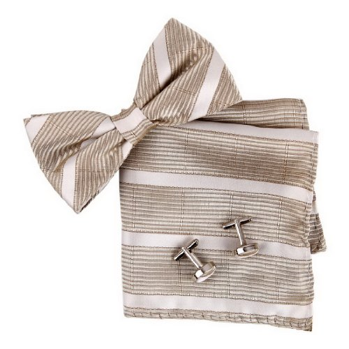 BT2137 Brown Stripes Valentines Day Presents For Guys Silk Pre-tied Bowtie Cufflink Hanky Fashion Set By Epoint