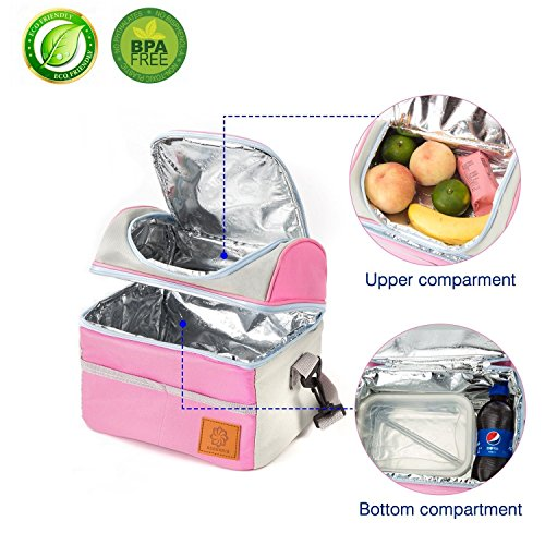 Box Section Aluminium (Insulated Lunch Box- Cooler Bag-Picnic and Travel Tote-Stiff Bottom, Best 2 Way Zipper Closures, Adjustable Shoulder Strap (Pink))