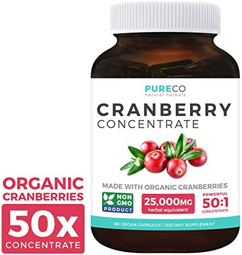 Organic Cranberry Pills – 50 1 Concentrate Equals 25,000mg of Fresh Cranberries Vegan for Kidney Cleanse Urinary Tract Health – UTI Vitamins Support – Fruit Extract Supplement – 60 Capsules