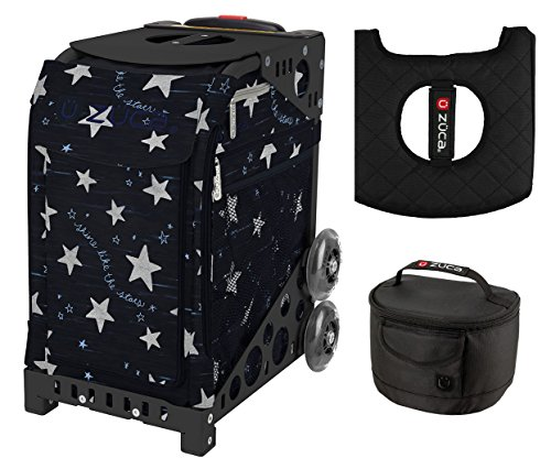 Zuca Sport Bag - Shine Like The Star with Gift Lunchbox and Seat Cover (Black Frame) by ZUCA