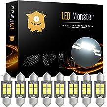 LED Monster 8-Pack Super Bright White 6SMD Canbus Error Free 36MM LED Festoon Bulbs 2835 Chipset for Car Interior License Plate Dome Courtesy Lights 6411 6418 C5W 1.50 6000K Xenon White