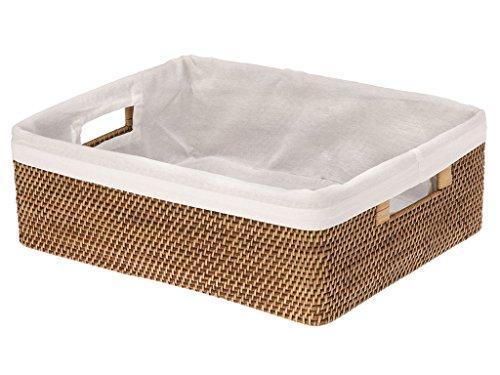 KOUBOO Rattan Shelf Basket with Liner, Honey Brown