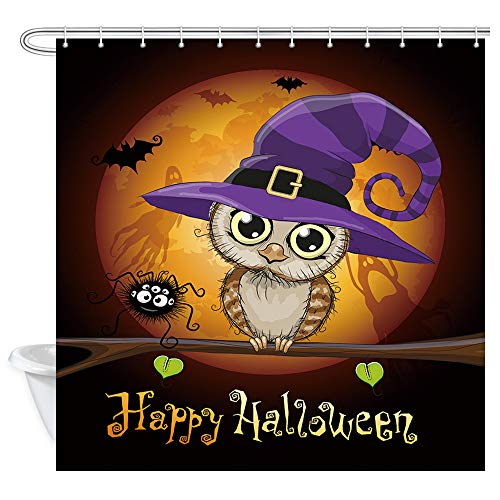 Halloween Night Shower Curtain for Bathroom, Owl with Witch Hat Under Moon Vintage Halloween Profession Polyester Fabric Bath Accessories Curtains Decor with 12PCS Hooks 69X70 Inches (Bath Accessories Owl)