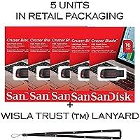 SanDisk Cruzer Blade 16GB (5 pack) SDCZ50-016G USB 2.0 Flash Drive Jump Drive Pen Drive SDCZ50-016G - Five Pack + BONUS Wisla Trust (TM) Lanyard