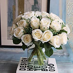 XGM GOU 1 Bunch Artificial Rose Flowers Fake Adornment Photography Props Garden Wedding Home Decor Bride Bouquet 3C 77