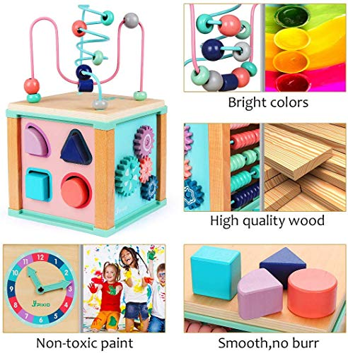 Activity Cube Toys Baby Educational Wooden Bead Maze Shape Sorter toys For 3+ year old Boy And Girl Toddlers Gift