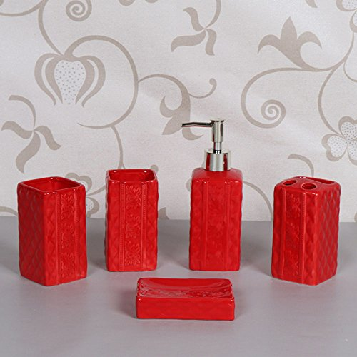 5 Piece Ceramic Bath Accessory Set Includes Bathroom Designer Soap or Lotion Dispenser,Toothbrush Holder,Tumbler,Soap Dish,Mother's Day Gift (Red) from Popular Bathroom Accessory Set