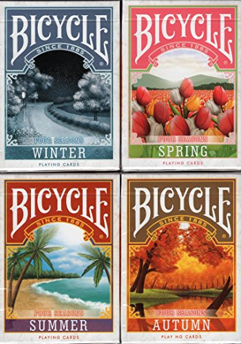 Four Seasons 4 Deck Set Bicycle Playing Cards Poker Size USPCC Custom Limited by Bicycle