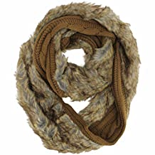 Luxury Brown Cable Knit Infinity Scarf With Plush Fur Lining