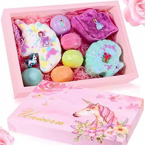 Unicorn Bath Bomb Gift Set - Include Unicorn Lips Sea Shell Macarons Handmade All Natural Essential Oil and Organic Bath Bomb, Best Gift Idea for Birthday Mothers day Valentine, Women, Mom, Teen Girl